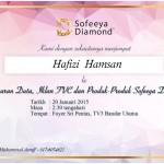 Tahniah Yana Samsudin Duta Sofeeya Diamond